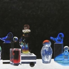 soft pastel drawing of glass containers