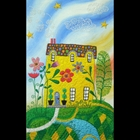 stitch by stitch drawing of a yellow house