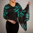 black and teal silk poncho