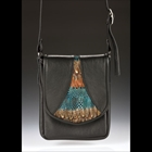 black hand bag with teal and orange coloring in the middle