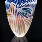 Handblown glass vessel using many layers of clear and colored glass