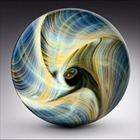 blue and yellow glass plate