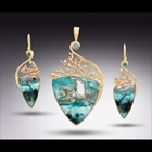 Opalized Wood Pendant and Earring Set