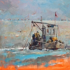Oil on gallery-wrapped canvas of an oyster boat in Aransas Bay near Rockport, TX