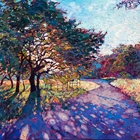 oil on canvas,Crystalline light filters through the boughs of this oak tree