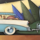 acrylic painting on wood panel of a car towing a camper