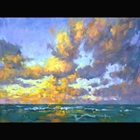 oil on linen painting of the horizon over the ocean