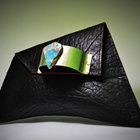 black clutch made from pineapple leather