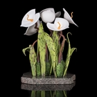 glass sculpture of white flowers
