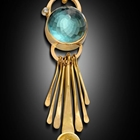 18k goldhand fabricated pendant with kinetic forged components and Diamonds