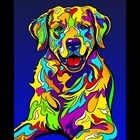 colorful oil on canvas golden retriever