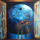oil on canvas deer through wooden doors