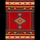 red handwoven wool rug