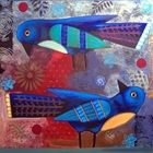 two blue birds looking in opposite directions