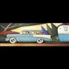 Painting of a 1957 Chevy towing a trailer