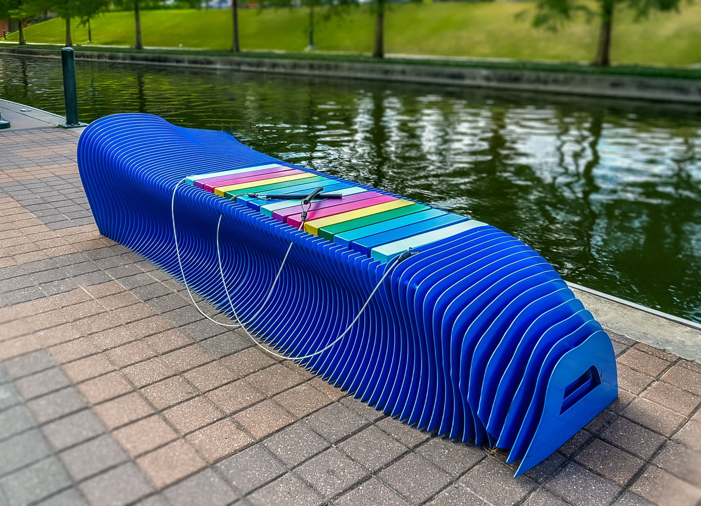 Blue xylophone bench