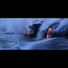 A long exposure of the lava ocean entry on the Big Island Hawaii