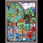 Hand cut glass mosaic with stones, tiles and found objects