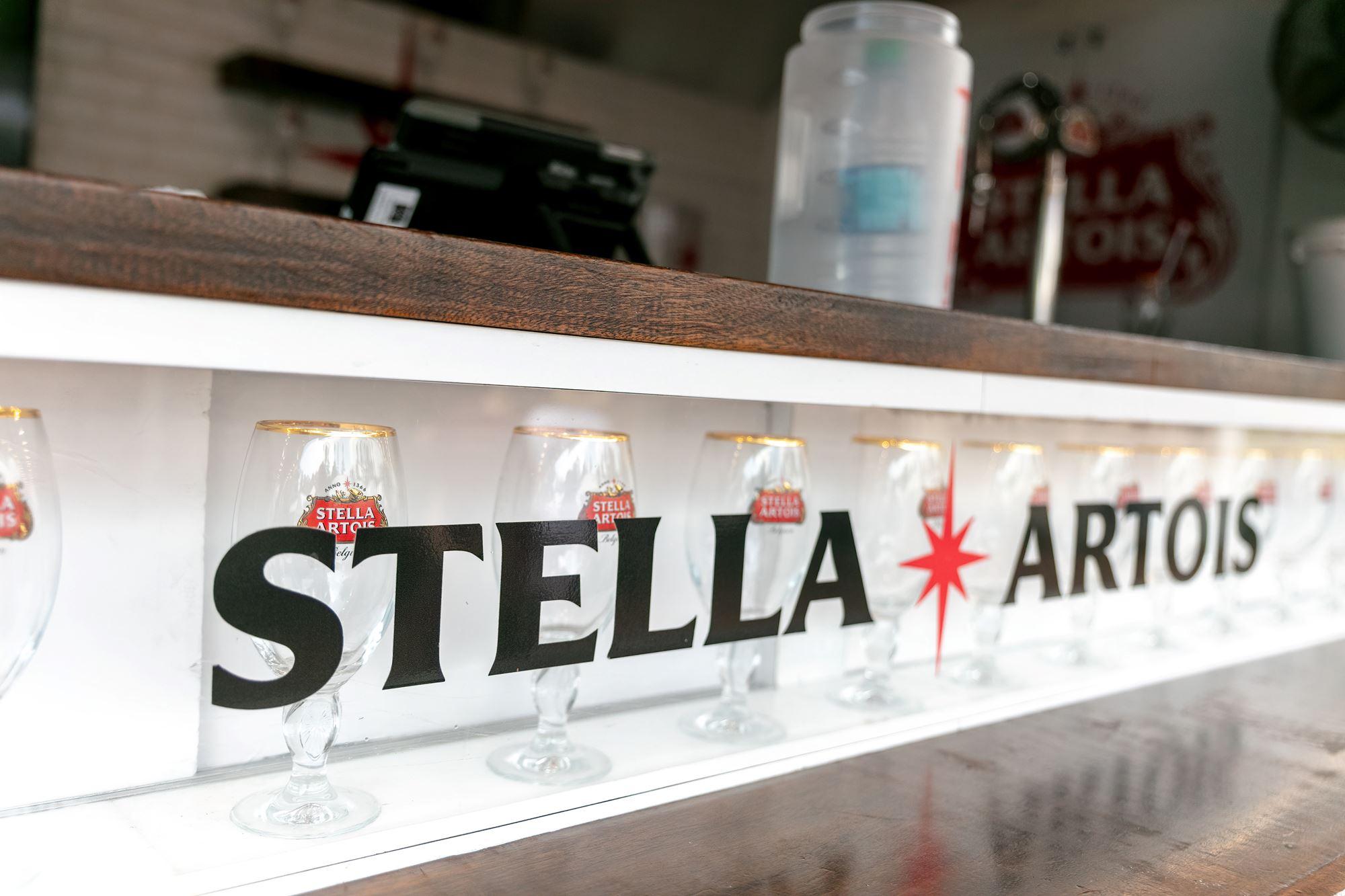 Stella Artois signage on the bar