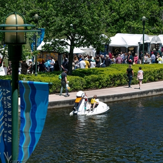 Artists booths along the Waterway