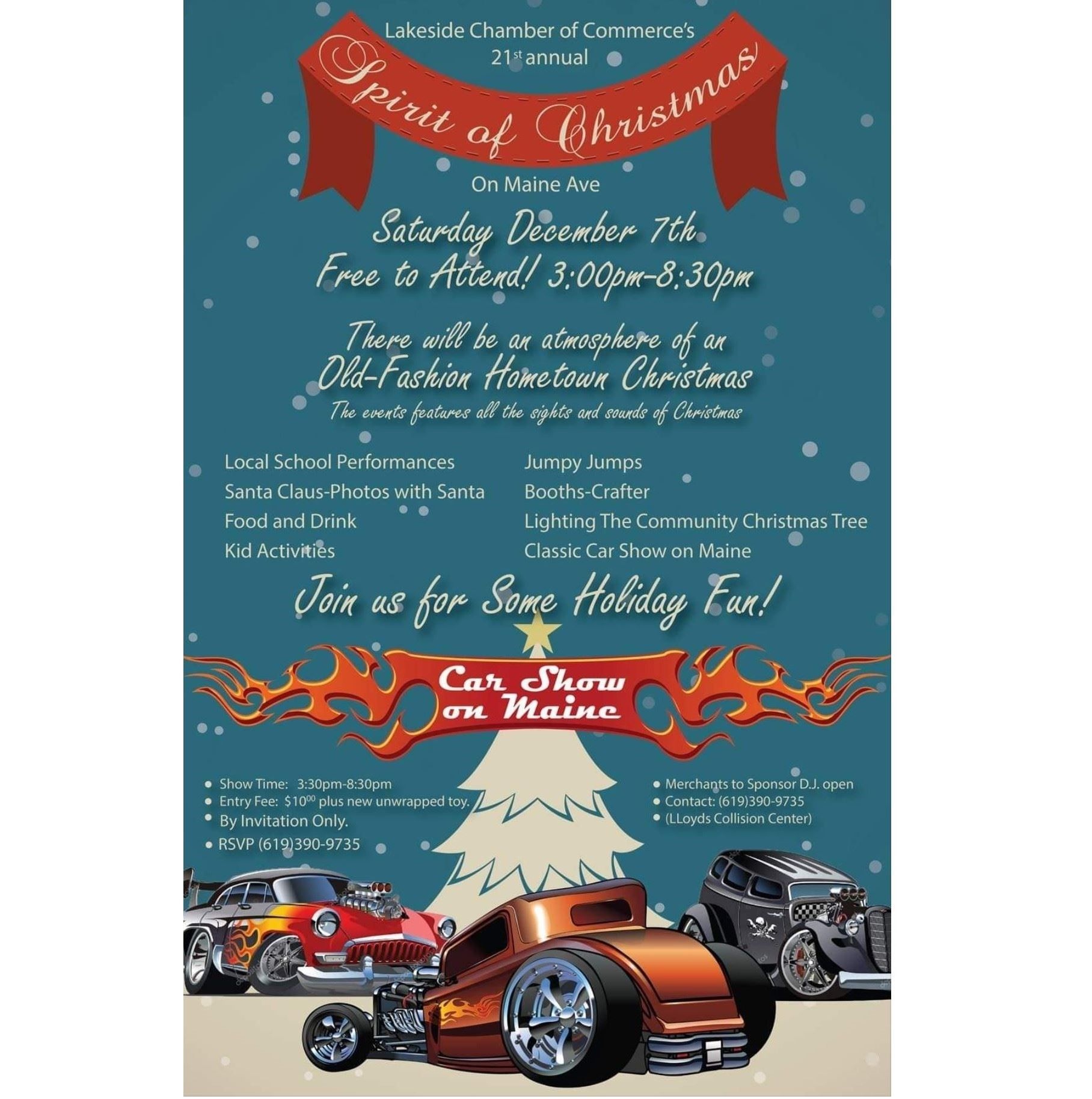 Dec 7th Spirit of Christmas on Maine Ave in Lakeside, CA